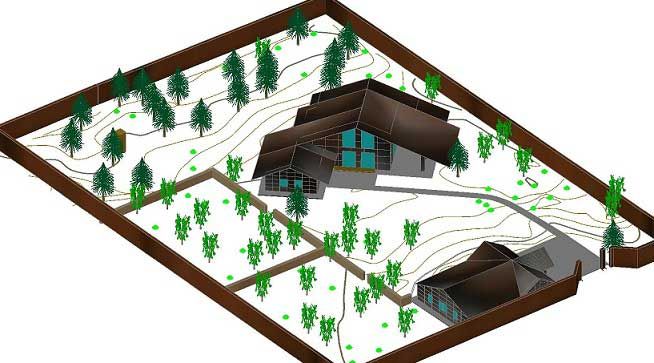 Digital topographic model of the area plan map
